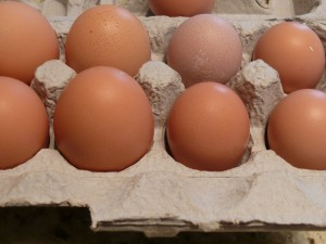 Pullet eggs and reular eggs.